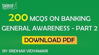200 MCQs on Banking General Awareness - Part 2 | SBI PO, Clerk| RBI Grade B | IBPS