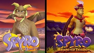 Comparisons of Elder Dragons in Toasty and Tree Tops (Playstation 1 and Reignited)