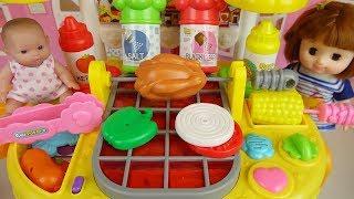 Baby doll and Hamburger cooking shop kitchen play