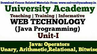 L15:Web Technology,Java Programming for Beginner,Operators In Java, Unary,Arithmetic,Bit wise etc.