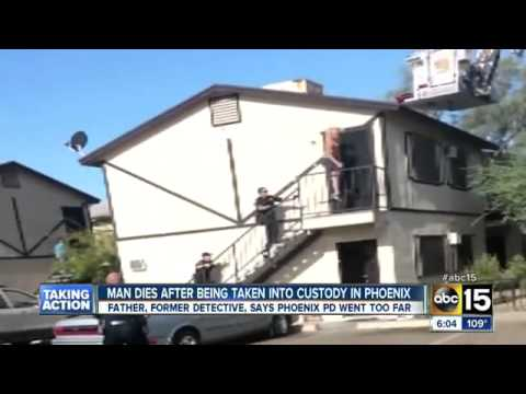 Police taser man to get him off a roof, choke & drag him face-down across a staircase, killing him