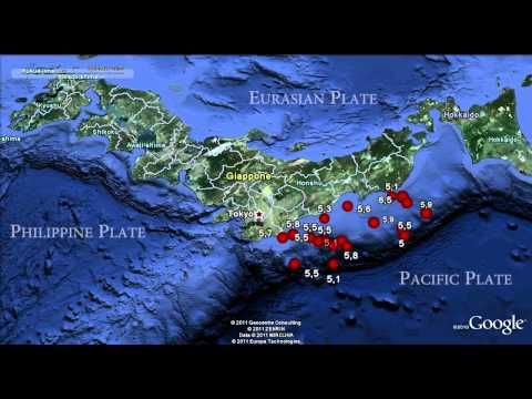 Japan Earthquake Swarm Google Earth Animation