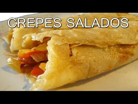 receta de CREPES SALADOS rellenos de pollo - recetas de cocina faciles rapidas y economicas