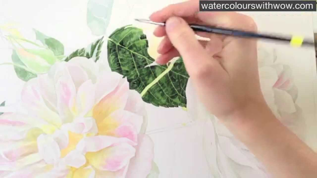 How to paint a realistic rose leaf in watercolor by anna for How to paint a rose watercolor