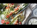 "Grilled Bok Choy ""Wedge"" with Blue Cheese-Buttermilk Dressing 