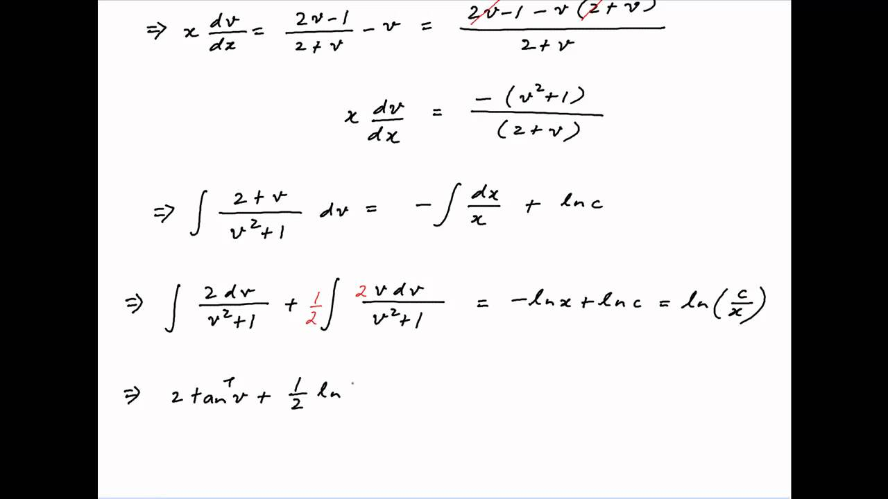 Solve the differential equation dy/dx = (2y - x) / (2x + y ...