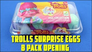 Trolls Surprise Eggs 8 Pack Opening with Candy and Sticker