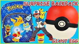 POKEMON GO Poke Ball GIANT Play Doh Surprise Egg Trainer + Pokemon Backpack and Cards Pokemon Go