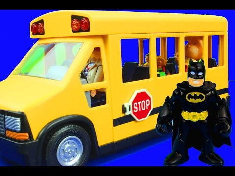 Wheels On The Bus Go Round And Round Nursery Rhymes Daniel Tiger Caillou Batman Superman Spiderman video