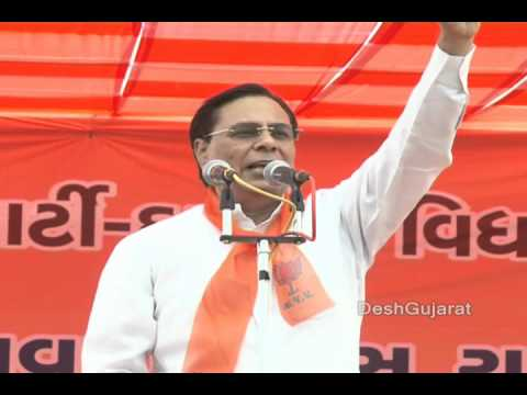 Gujarat BJP MP Harin Pathak addressing public meeting at Nikol in Ahmedabad