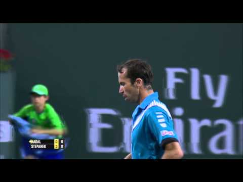Radek Stepanek Hits Indian Wells Hot Shot Against Nadal video