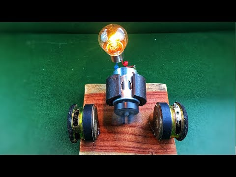 Mini free energy generator with light bulb using speaker magnet - Amazing science experiment project thumbnail
