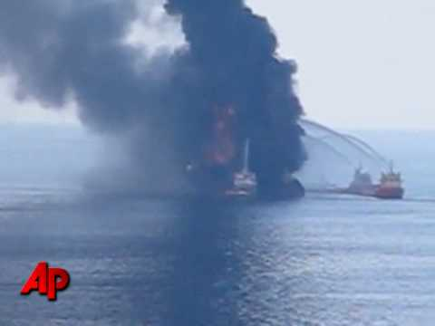 Raw Video: Oil Rig Fire Rages On