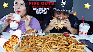 FIVE GUYS *DOUBLE* CHEESEBURGERS AND FRIES MUKBANG | FIVE GUYS BURGERS AND FRIES EATING SHOW