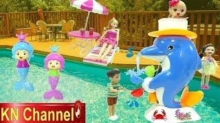 Đồ chơi trẻ em WATER TOY ĐÀI PHUN NƯỚC CÁ HEO CẦU VỒNG | WATER FUN POOL PARTY