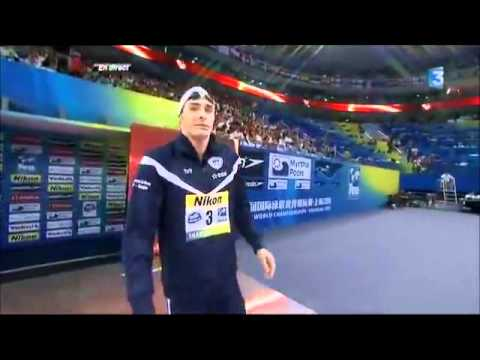 Jeremy Stravius and Camille Lacourt tie for the gold medal at the 2011 Fina World Aquatic Championships in Shanghai in the 100 backstroke. A great victory fo...