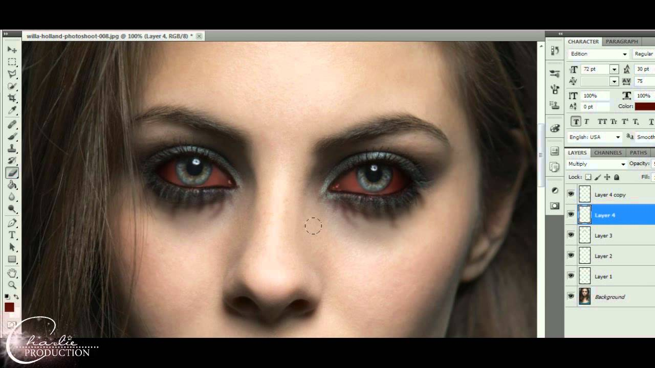 how to vampire eyes photoshop (vampire diaries style) - YouTube