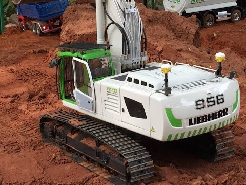 Radio Controlled Liebherr 956 crawling at the hill - Powerful machine
