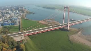 Drohne Rheinbrücke Und Hafeneinfahrt Emmerich
