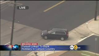 Southern California Police Chase Bank Robbers In A Volvo XC90 Throwing Cash Out