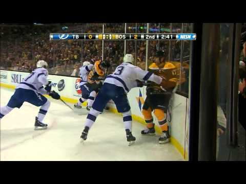 Milan Lucic fights Keith Aulie w/SlowMo 4/25/13