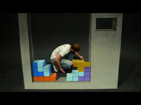 Tetris Stop Motion 3D Chalk Art