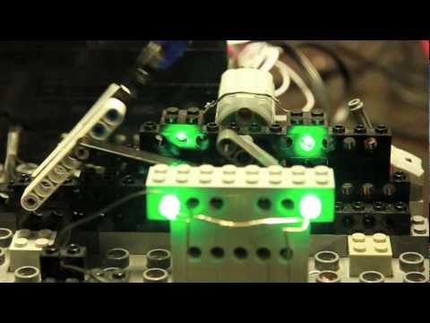 DIY mechanical LED display built from LEGO and controlled by Arduino