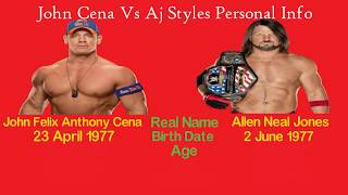 John Cena Vs Aj Styles Comparison- Net Worth, Career Stats, Cars, Followers, Occupation & more