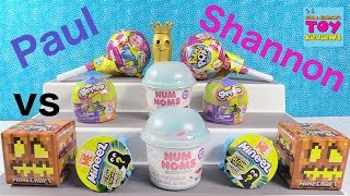 Paul vs Shannon Challenge Pikmi Pops Num Noms Minions Toy Review | PSToyReviews