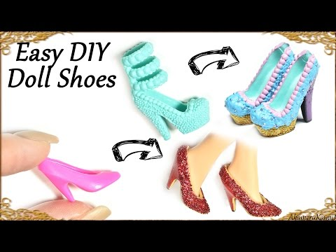 Easy Diy Barbie / Doll Custom Shoes; Cupcake & Glitter Themed - How to recycle old doll shoes