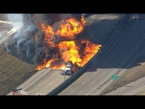 Large fire on I-94 after tanker explodes