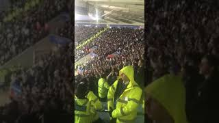 "Leeds fans in good voice singing ""Marching on Together"" at Leicester tonight."