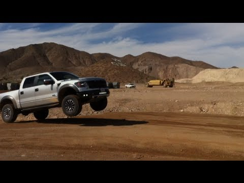 Ford Raptor Drifts and Jumps Track with Off Road Prerunner Truck