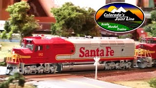 Running Model Trains ATSF, D&RGW, BN, & SP train layout action
