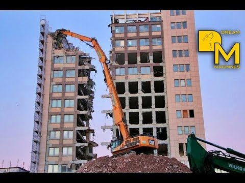 CAT 385C HRD longfront excavator demolishing house Abbruch Bagger