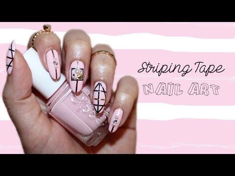 Spring Nails| Geometric Striping Tape Nail Art ♡ - YouTube