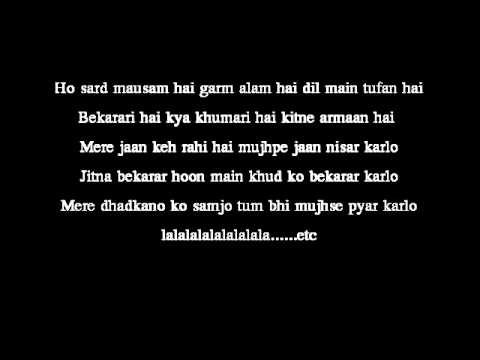 Dil Ne Yeh Kaha Hai Dil Se- Lyrics on Screen