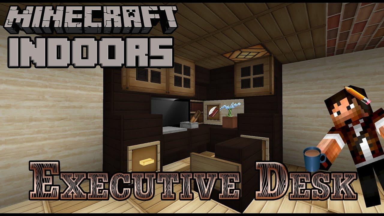Executive desk minecraft indoors office desk tutorial youtube - Minecraft office interior ...