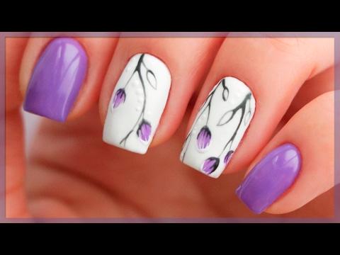 Дизайн ногтей с веточками и бутонами