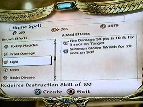 Oblivion: How to make your own Spells