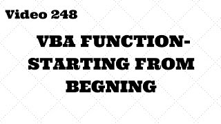 Learn Excel - Video 248 - Basics of VBA Function