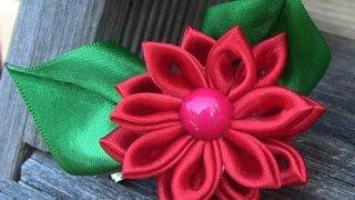 05/06/2014. HOW TO MAKE ROLLED RIBBON ROSES- fabric flowers-Flor de Fita em cetim Passo a Passo.