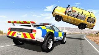 पागल पुलिस # 71 पीछा - BeamNG ड्राइव क्रैश