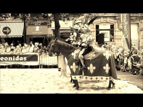 Ridders te paard in duel