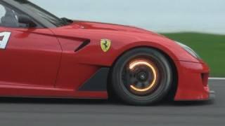Ferrari 599XX glowing brake disk + downshifts !!!