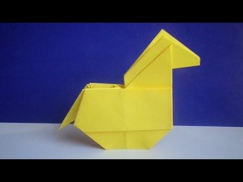 Видео как сделать оригами лошадь из бумаги
