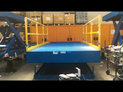 Scissor table with safety handrails