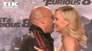 "Charlize Theron kissing Vin Diesel: German premiere ""FAST & FURIOUS 8"""