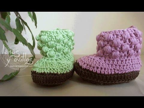 Tutorial Botas Bebe Crochet. Baby booties (english sub)