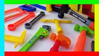 Toy tool set tool box kid videos black and decker toy reviews surprise eggs
